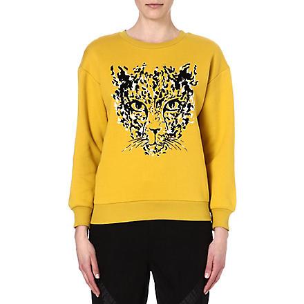 IZZUE I.T. leopard cat sweatshirt (Mustard