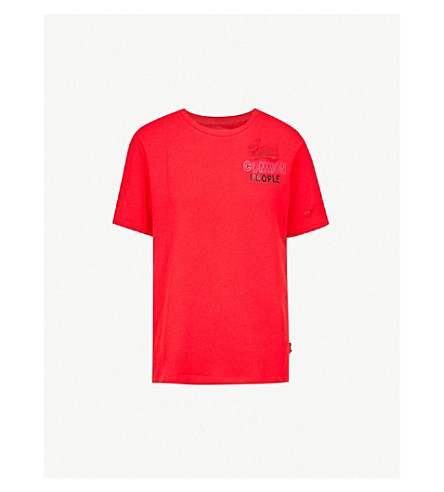 IZZUE Common People embroidered cotton-jersey T-shirt (Red