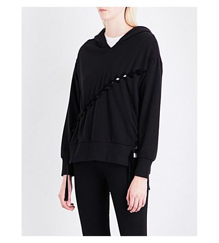 IZZUE Velvet lace-up jersey hoody (Black