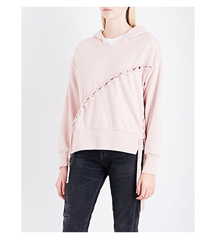 IZZUE Velvet lace-up jersey hoody (Pink