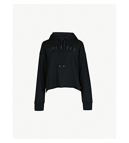 IZZUE Embroidered cotton-jersey hoody (Black