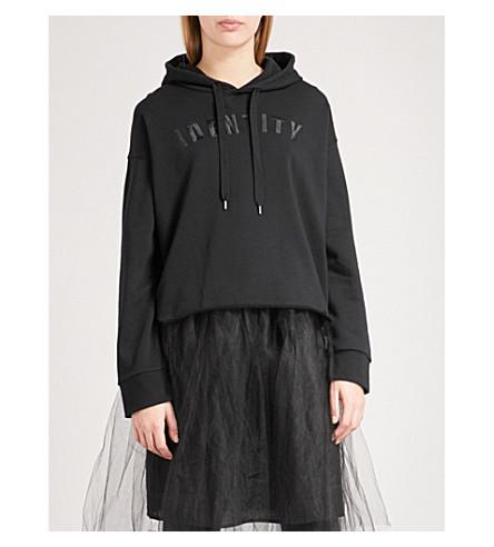 IZZUE 刺绣平纹针织棉帽衫 (黑色
