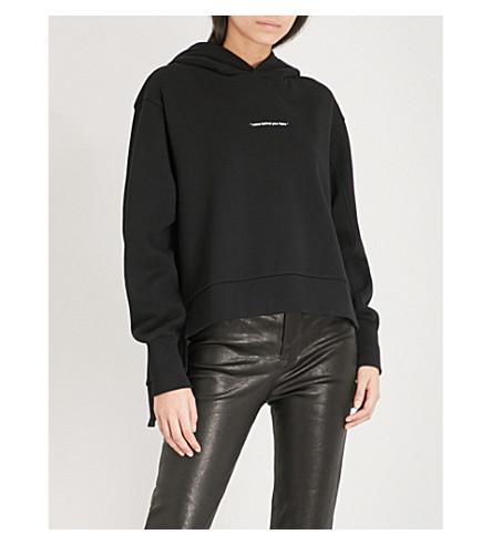 IZZUE Spilt cotton-blend hoody (Black