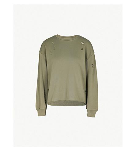 IZZUE Tron cotton-blend sweatshirt (Khaki