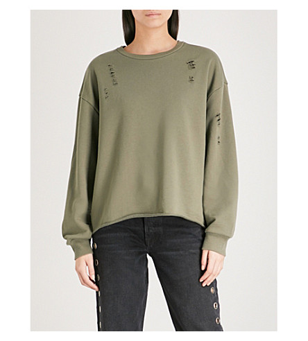 IZZUE Tron cotton-blend sweatshirt (Khaki
