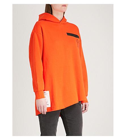 IZZUE Label-detail cotton-blend hoody (Orange