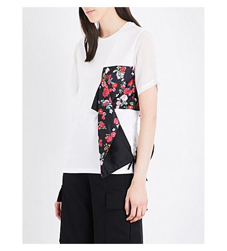 IZZUE Floral-panel cotton T-shirt (White