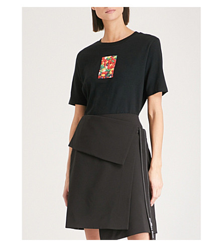IZZUE Flocked-print cotton-jersey T-shirt (Black