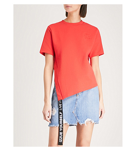 IZZUE Slit and tape cotton-jersey T-shirt (Red