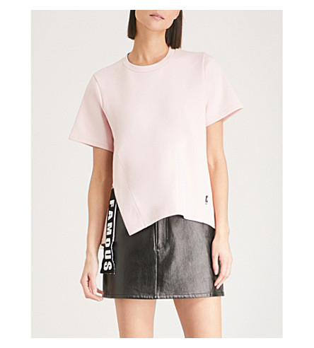 IZZUE Slit and tape cotton-jersey T-shirt (Pink