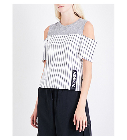 IZZUE Cold-shoulder cotton-jersey top (Gy2