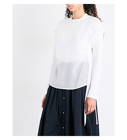 IZZUE Ruched-sleeve gauze top (White