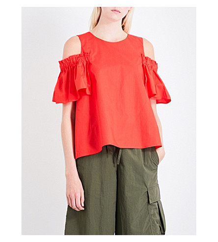 IZZUE Ruffled cold-shoulder cotton-poplin top (Rdx