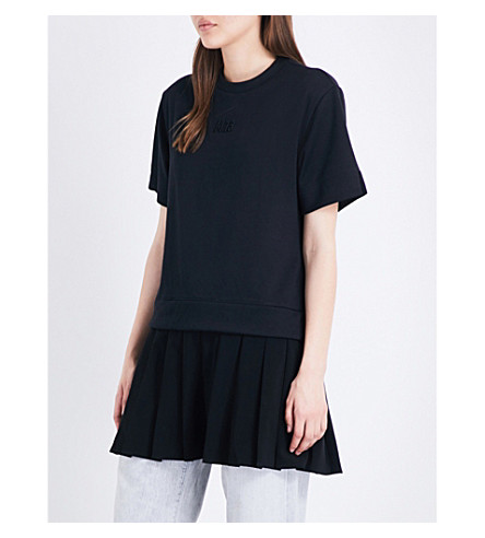 MUSIUM Pleated-hem piqué top (Bkx
