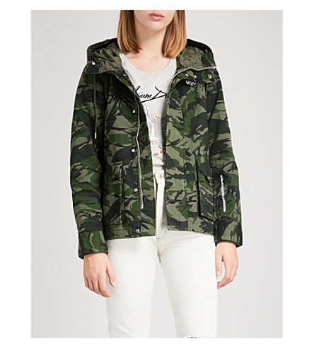 MUSIUM Rose-embroidered camouflage hooded cotton jacket (Green