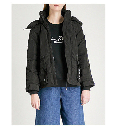 MUSIUM Faux-shearling hooded shell parka jacket (Black