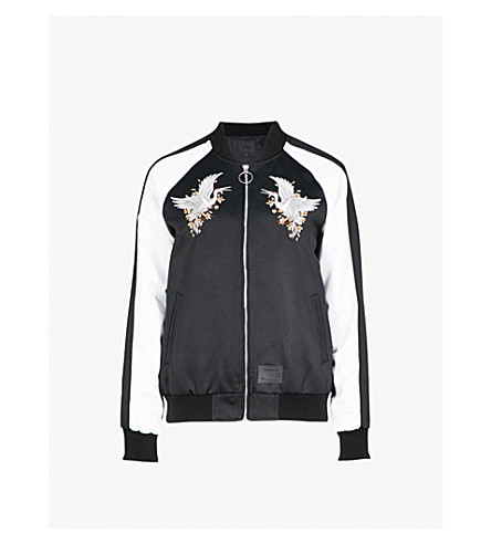 MUSIUM Embroidered satin bomber jacket (Black/white