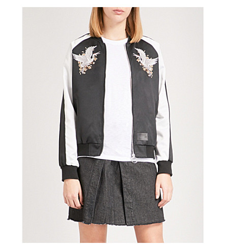 MUSIUM Embroidered satin bomber jacket (Black/white