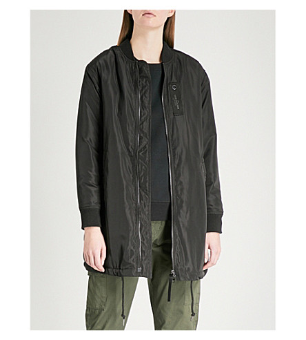 MUSIUM Logo-embossed shell bomber jacket (Black