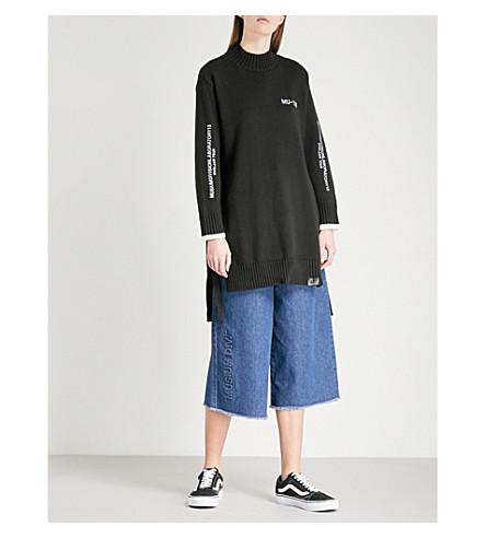 MUSIUM Logo-embroidered side-split cotton-blend jumper (Black