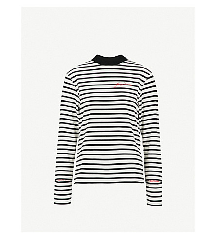 MUSIUM Logo-embroidered striped cotton-jersey top (White