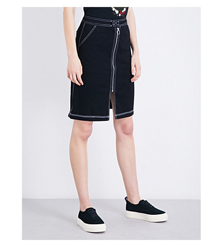 MUSIUM Zip-front stretch-denim skirt (Bkx