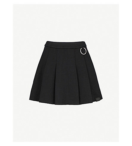 MUSIUM Logo-embroidered pleated cotton-jersey mini skirt (Black