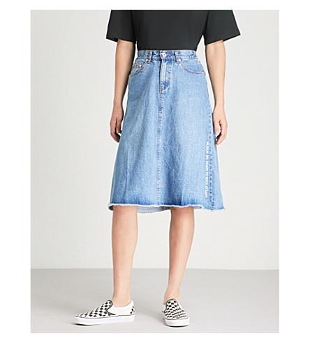 MUSIUM Logo-embroidered denim midi skirt (Blue
