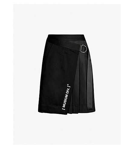MUSIUM Asymmetric wool-blend mini skirt (Black