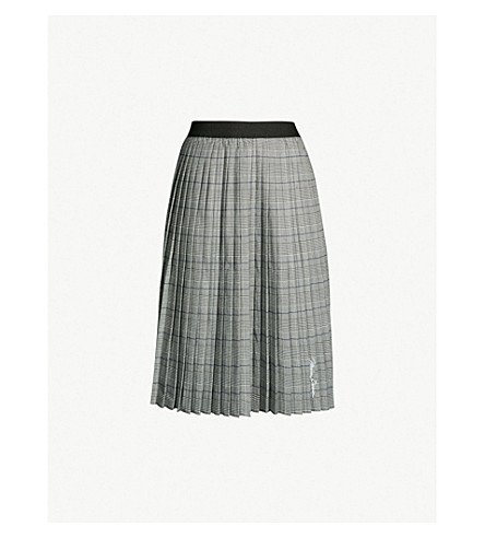 MUSIUM Pleated check midi skirt (Grey