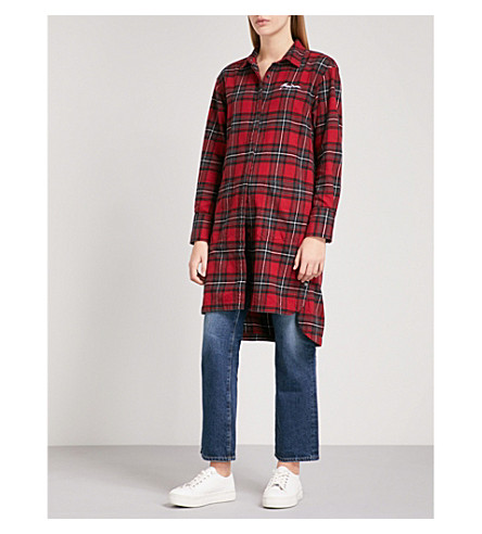 MUSIUM Logo-embroidered checked brushed cotton shirt (Red
