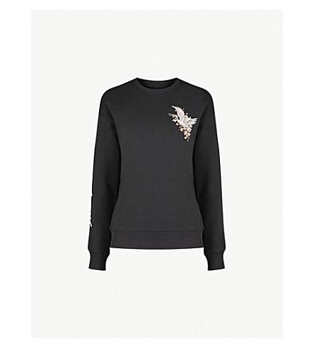 MUSIUM Bird-embroidered cotton-jersey sweatshirt (Black
