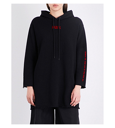 MUSIUM Flocked-detail raw-hem cotton-jersey hoody (Black