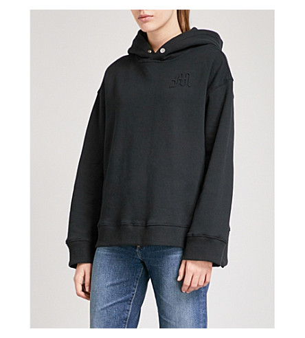 MUSIUM Logo-embroidered cotton-jersey hoody (Black