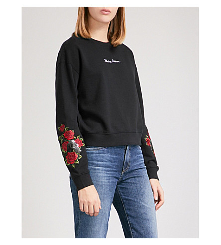 MUSIUM Embroidered logo and rose cotton-jersey sweatshirt (Black