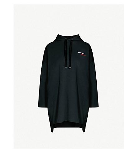 MUSIUM Velvet-trimmed logo-embroidered cotton-jersey dress (Black