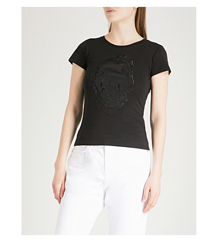 MUSIUM Skull-embroidered cotton-jersey T-shirt (Black