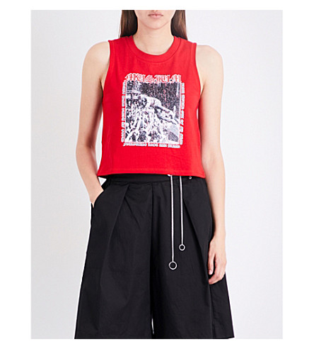 MUSIUM Tour-print cotton-jersey top (Red