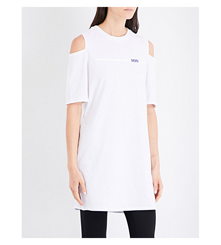 MUSIUM Logo-print cold-shoulder cotton-jersey T-shirt (White
