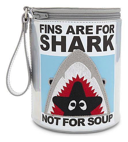 MINI CREAM Shark iridescent wrist pouch (Svx