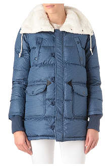 MINI CREAM I.T Faux-fur collar quilted jacket