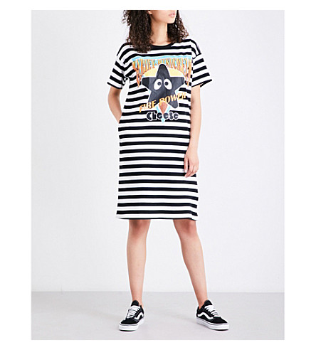 MINI CREAM Star-print cotton-jersey dress (Black/white