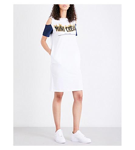 MINI CREAM Fire logo-print cotton-jersey dress (White