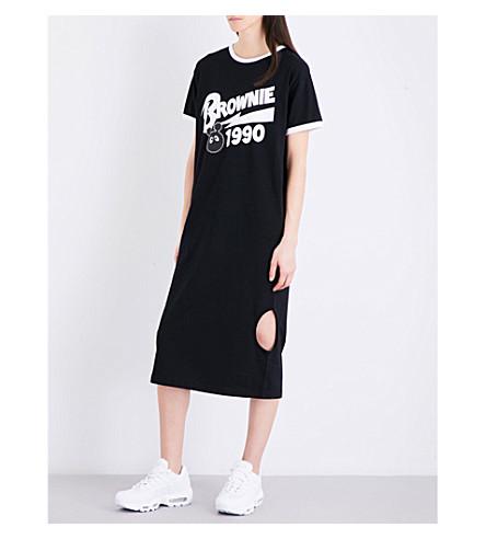 MINI CREAM Brownie-print cotton-jersey dress (Black