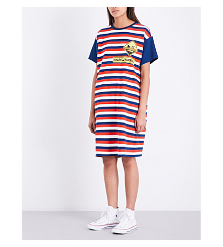 MINI CREAM Stripe-print cotton T-shirt dress (Rdx