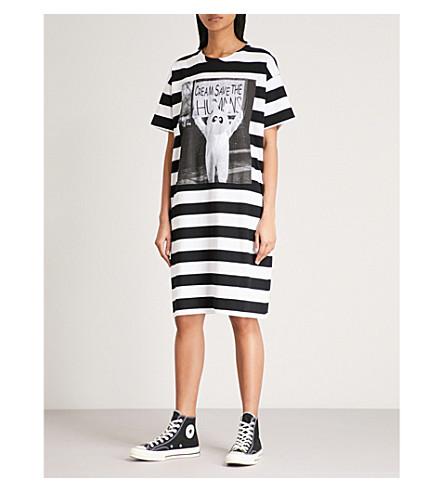 MINI CREAM Striped cotton-jersey dress (Black