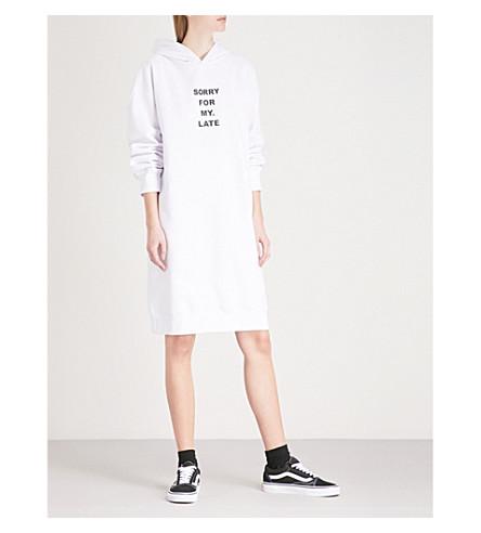 MINI CREAM Printed cotton-blend hoody dress (White