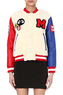MINI CREAM I.T leather-sleeve baseball jacket