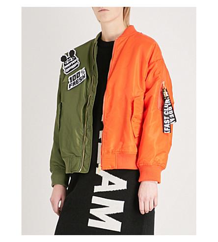 MINI CREAM Contrast-panel shell bomber jacket (Khx