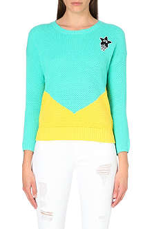 MINI CREAM I.T Colour block jumper